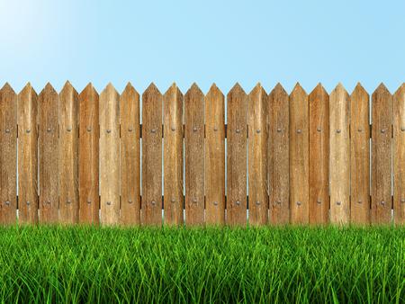 草クリッピング パスを含めるを木製フェンス