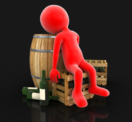 storage tank: Wine barrel, bottles and man clipping path included