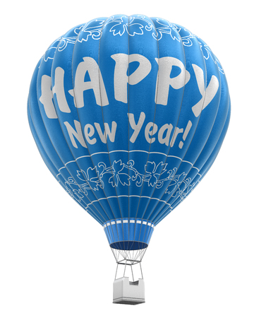 aerospace industry: Hot Air Balloon with Happy New Year clipping path included