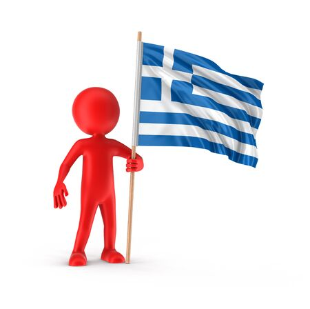 greek flag: Man and Greek flag clipping path included