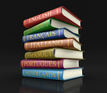 dictionaries: Stack of dictionaries clipping path included