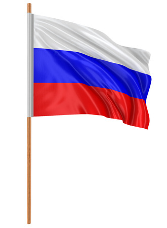 russian flag: 3D Russian flag clipping path included