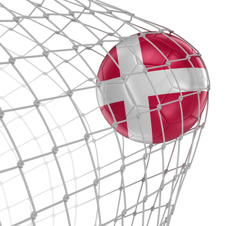 soccerball: Danish soccerball in net. Image with clipping path