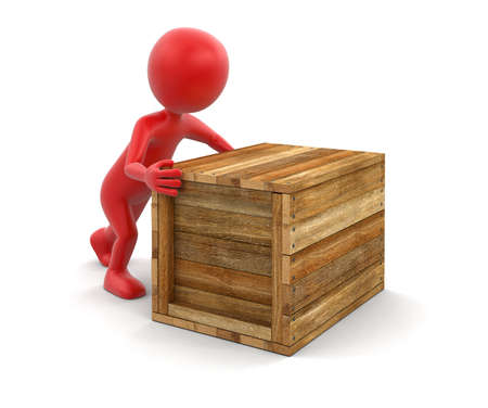 crate: Wooden crate and man clipping path included Stock Photo