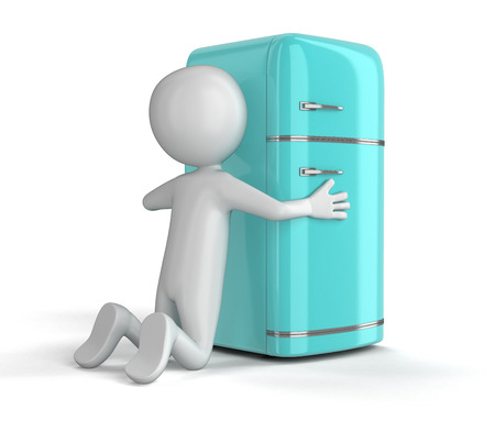 storage compartment: Retro refrigerator and man. Image with clipping path
