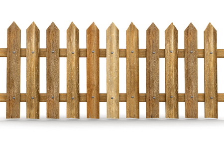 included: Wooden fence clipping path included Stock Photo