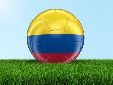 colombian flag: Soccer football with Colombian flag on grass. Image with clipping path Stock Photo