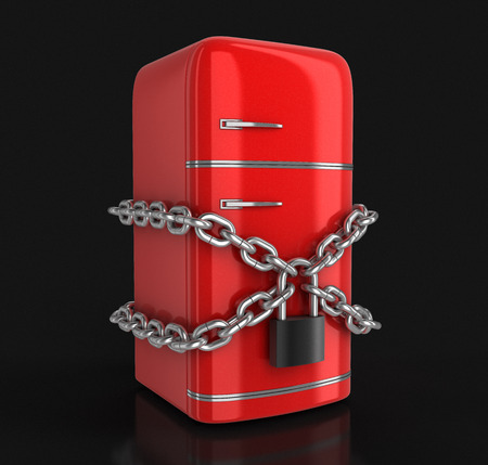 Retro refrigerator and lock clipping path included Stock Photo