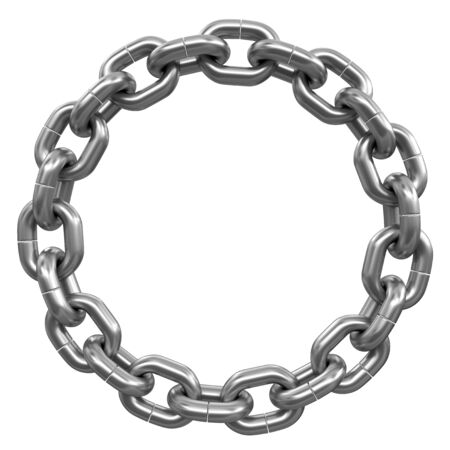metal chain: chain links united in ring. Image with clipping path