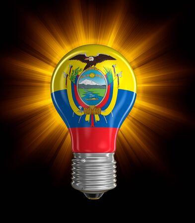 ecuadorian: Light bulb with Ecuadorian flag clipping path included Stock Photo
