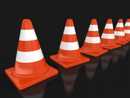 traffic   cones: Row of traffic cones. Image with clipping path Stock Photo