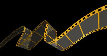 Tira de la película de oro sobre negro