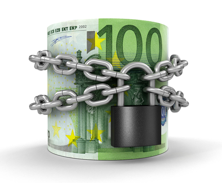 Pile of Euro and lock   Stock Photo