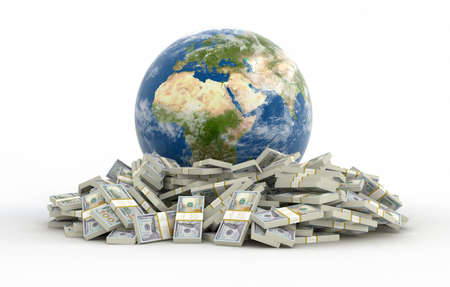 us paper currency: Pile of Dollars and globe