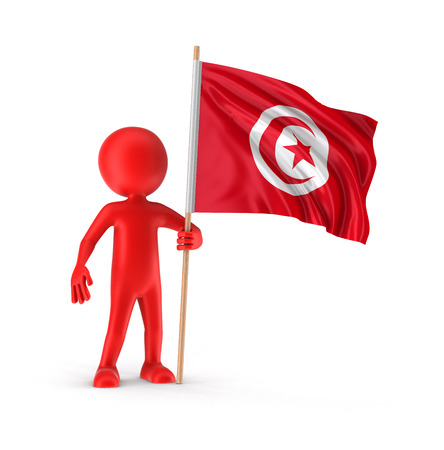 tunisia: Man and Tunisia flag  Stock Photo