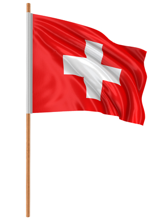 swiss culture: 3D Swiss flag   Stock Photo