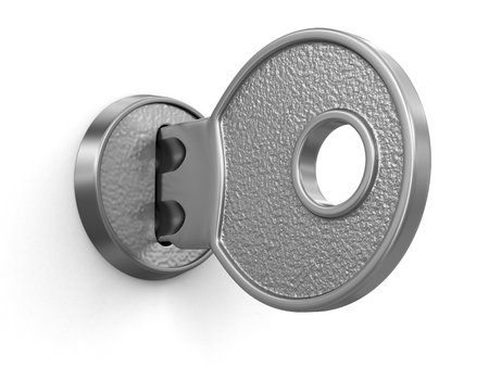 three dimensional accessibility: Key and lock   Stock Photo