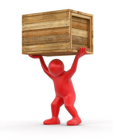 Wooden crate and man