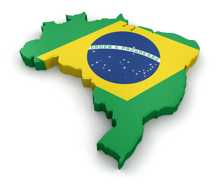 physical geography: Map of Brazil. 3d render Image. Image with clipping path