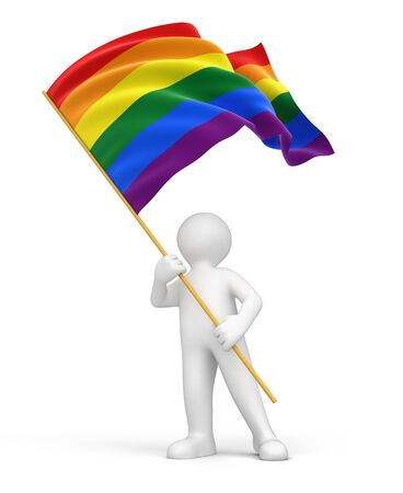 Man and Rainbow Gay Pride Flag. Image with clipping path Reklamní fotografie