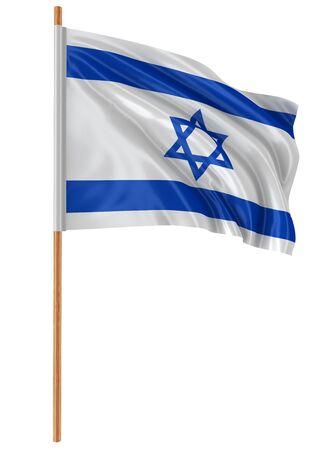 israeli flag: 3D Israeli flag with fabric surface texture. White background. Stock Photo
