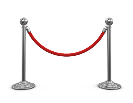 roped off: Stanchions with rope. Image with clipping path Stock Photo