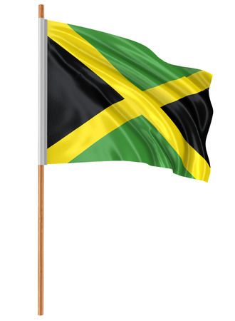jamaican flag: 3D Jamaican flag with fabric surface texture. White background. Stock Photo