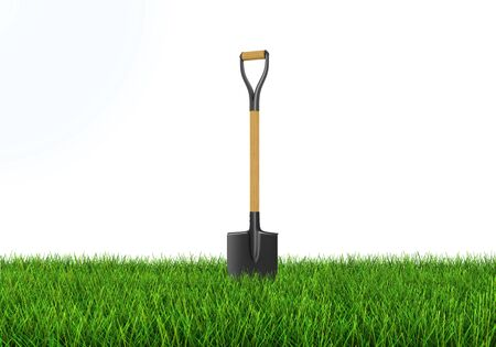 earth moving equipment: Shovel in grass. Image with clipping path
