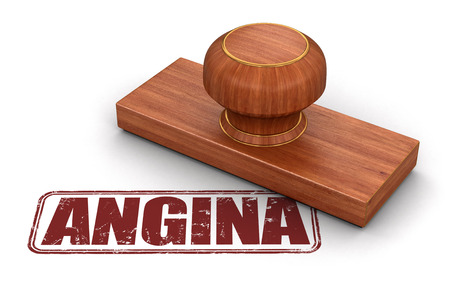 angina: Estampar la angina de pecho. Imagen con el camino de recortes