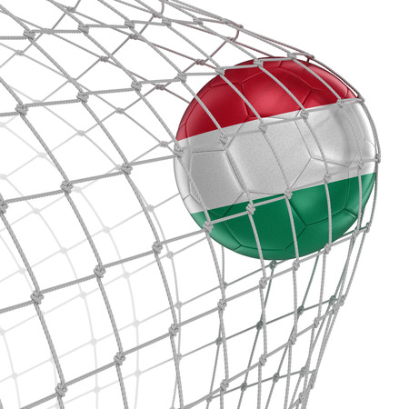 soccerball: Hungarian soccerball in net. Image with clipping path Stock Photo