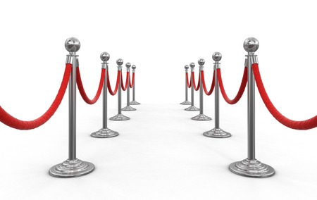 stanchion: Chrome Stanchions with rope. Image with clipping path