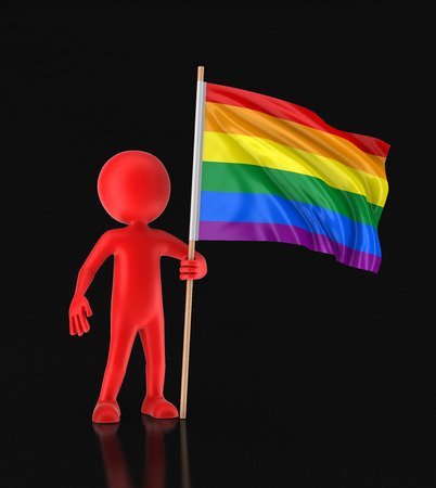 gay pride flag: Man and Rainbow Gay Pride Flag. Image with clipping path Stock Photo