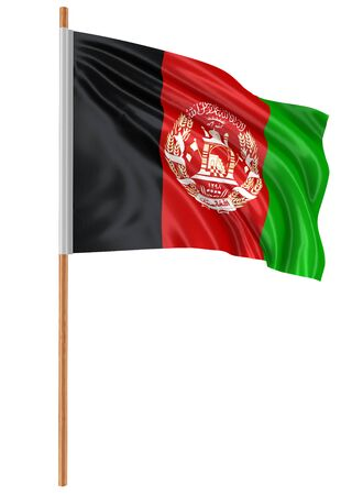 fabric surface: 3D Afghani flag with fabric surface texture. White background.