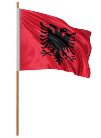 fabric surface: 3D Albanian flag with fabric surface texture. White background.