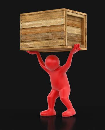 Wooden crate and man. Image with clipping path Stock Photo