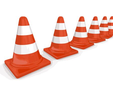 bollard: Row of traffic cones