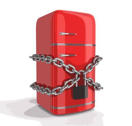 storage compartment: Retro refrigerator and lock