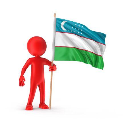 uzbek: Man and Uzbek flag clipping path included