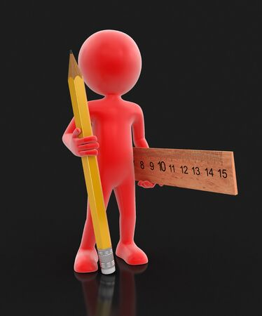 manual measuring instrument: Man with pencil and ruler. Image with clipping path Stock Photo