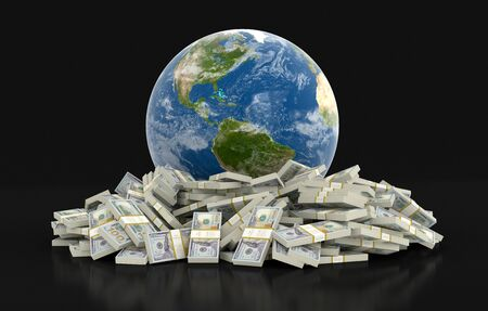 us paper currency: Pile of Dollars and globe clipping path included Stock Photo