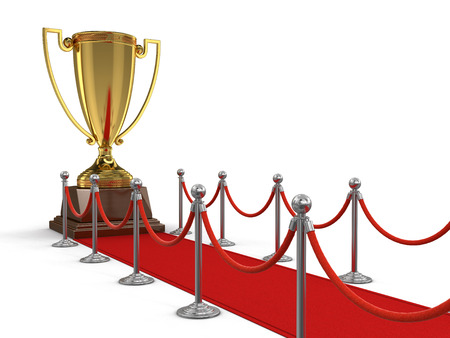 stanchion: Trophy Cup on Red Carpet clipping path included Stock Photo
