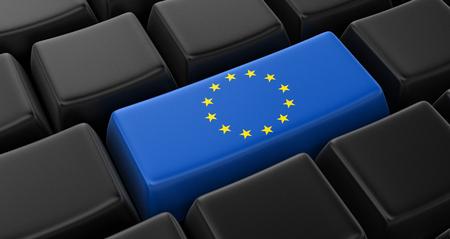 european union flag: Key with European union Flag Stock Photo