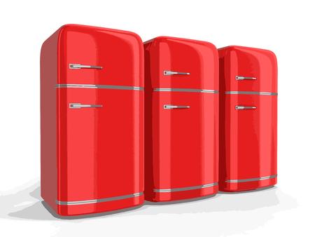 storage compartment: Retro refrigerators Illustration