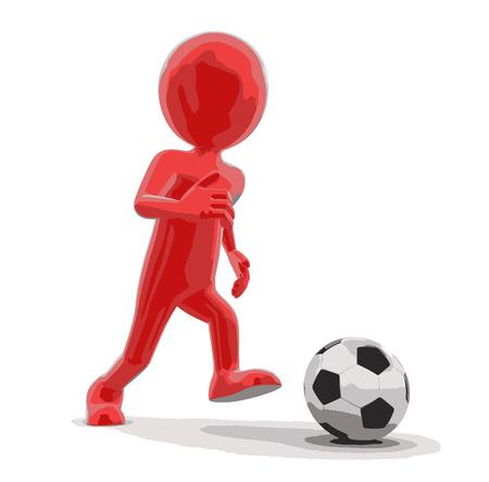 soccer team: Man with Soccer football Illustration