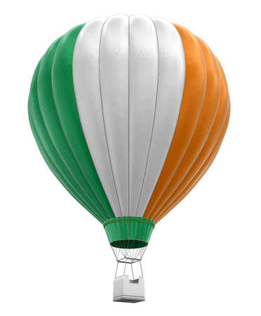irish culture: Hot Air Balloon with Irish Flag. Image with clipping path