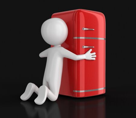 Retro refrigerator and man. Image with clipping path