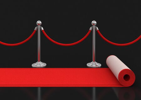 roped off: Red Carpet and stanchions. Image with clipping path