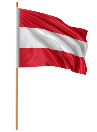 3D Austrian flag with fabric surface texture. White background. Image with clipping path