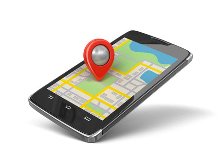 map pin: Touchscreen smartphone with Pointer. Image with clipping path. Stock Photo