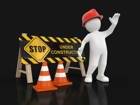 under construction sign: Under construction sign and worker. Image with clipping path Stock Photo